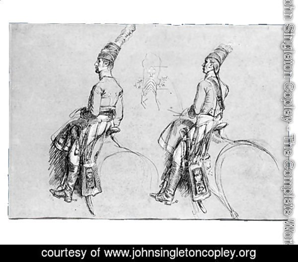 Two Equestrian Figures, Possibly a Study for