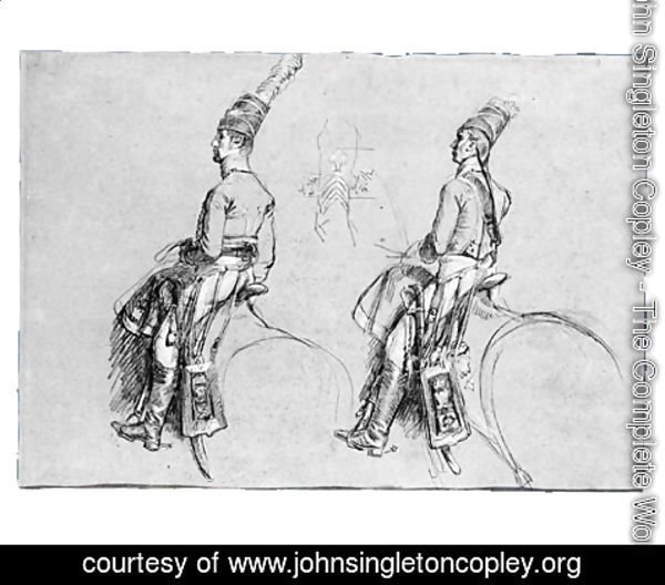 John Singleton Copley - Two Equestrian Figures, Possibly a Study for