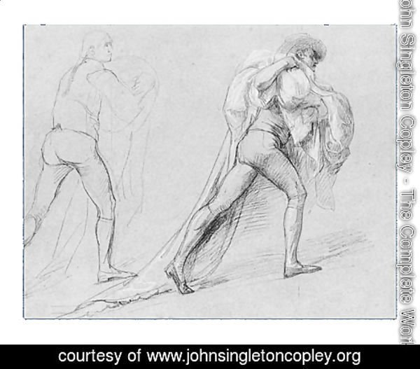 "Study for ""The Surrender of the Dutch Admiral De Winter to Admiral Duncan, October 11, 1797"": Two Studies of a Man with a Sail or Flag"