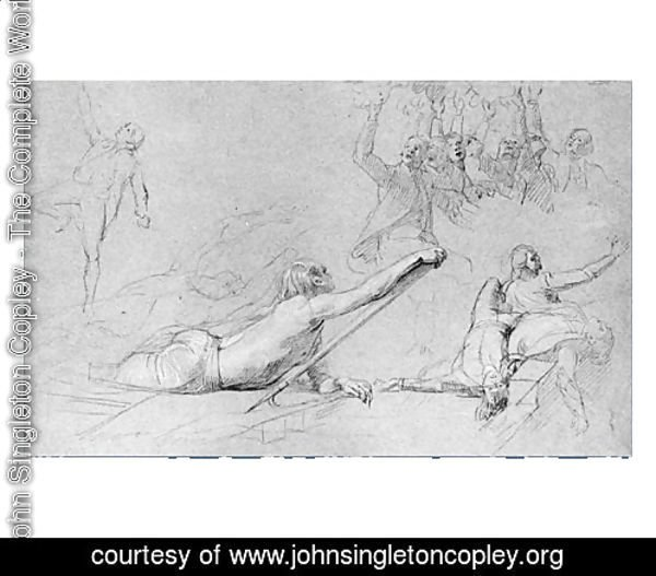 "Study for ""The Siege of Gibraltar"": Figure Reaching; Sprawling Figures; Cheering Group; Dying Sailors"