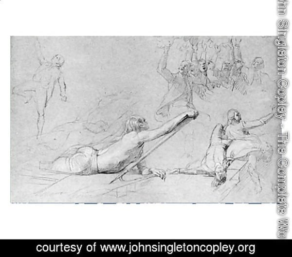 "John Singleton Copley - Study for ""The Siege of Gibraltar"": Figure Reaching; Sprawling Figures; Cheering Group; Dying Sailors"