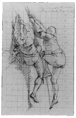 "Study for ""The Siege of Gibraltar"": Figures Scaling Floating Battery; Cannon"