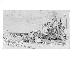 "John Singleton Copley - Study for ""The Siege of Gibraltar"": The Wrecked"