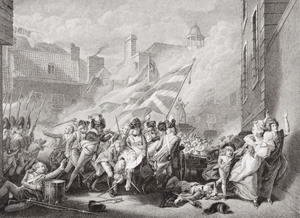 The death of Major Peirson at St. Helier, retaking Jersey from the French, 8 January 1781, from Illustrations of English and Scottish History  Volume II