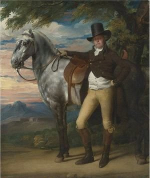 John Singleton Copley - John Wombwell With A Grey Hunter